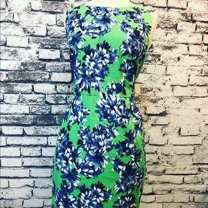 J Crew Bright Green & Blue Floral Sheath Dress